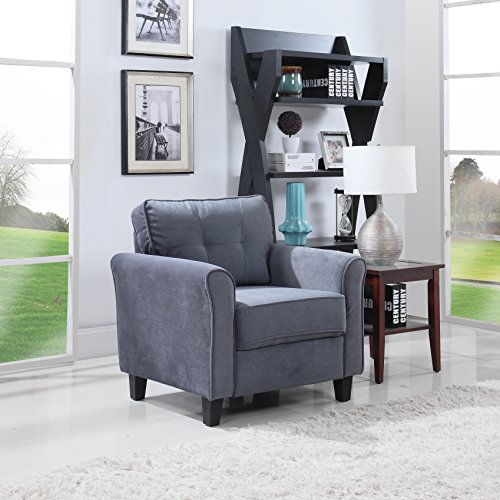 Classic Brush Microfiber Fabric Living Room Accent Chair (Dark Grey)
