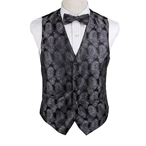 EGE2B05B-L Grey Patterns Microfiber Tuxedo Vest Pre-tied Bow Tie Set Best For Boyfriends By Epoint