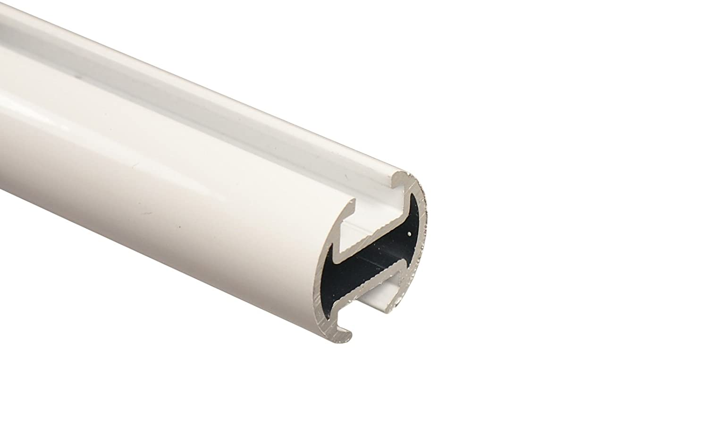Innenlauf Gardinenstange 2-läufig aus Aluminium und Holz weiß, 20 20 20 mm, Endstück Kegel, 320 cm (2 x 160 cm) 5bc198