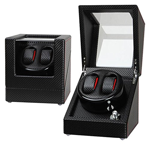Time.G Automatic Double Watch Winder for Black Leather (Black)