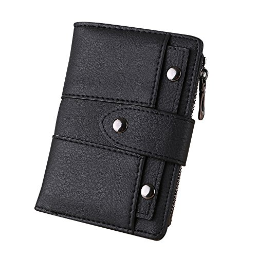 Outsta Women Girl Purse Short Wallet Simple Retro Rivets Card Holders, Lady Travel Wallet Cute Purse Gift (Black)