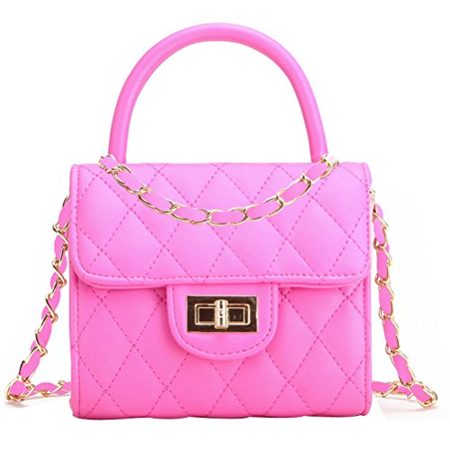 Abuyall Princess Clutch Purse Handbag Little Girl Bag Clutch Evening Party Cute Pu Lattice Mini Tote Gold Chain Shoulder bag Turn Lock Top Handle Messenger bag Set Pt6