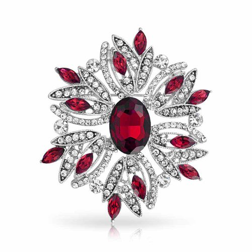 (Bling Jewelry Large Statement Vintage Style Crystal Flower Red White Brooch Pin for Women for Mother Silver Plated)