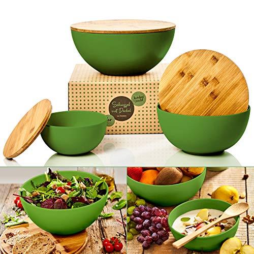 bambuswald© ökologische Salatschüssel mit Deckel aus Bambus 3 Stück im Set | Bambusschüssel in 0,9L 1,9L oder 4L…