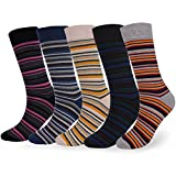 WEILAI SOCKS Mens 5 Pack Colorful Funky Argyle New Design Fashion Dress Crew Socks (S4)