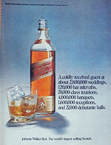 Johnnie Walker Red Label Whiskey. Rare 70's print ad. Color Illustration, original 1971 magazine print art Red Label Whiskey