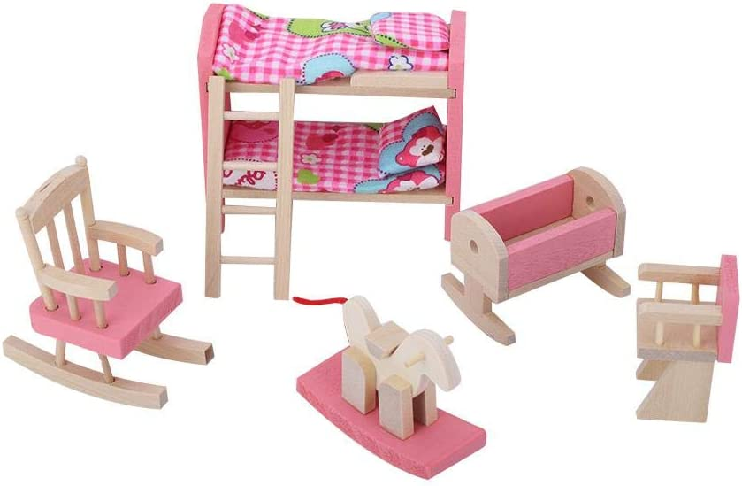1:12 Mini Doll House Furniture Sets Wooden Miniature Furniture Pretend Play Toy Simulation Life Scene Kitchen Bedroom Bathroom Playset Toy for 3 4 5 Years Old Girls Boys Toddlers Children Bedroom