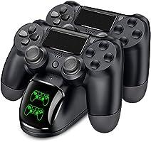PS4 コントローラー 充電器 BEBONCOOL PS4 充電 スタンド DS4/PS4 Pro/PS4 Slim 充電器 PS4 コントローラー 充電2台同時充電可能 DUALSHOCK4 充電 LED 指示ランプ付き (黑)