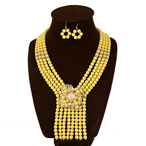 Bollywood Queen Adult Costumes (UDDEIN New Nigerian Wedding Jewelry Sets Accessories Women African Beads Jewelry Set (Yellow))