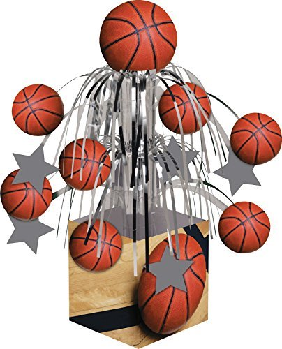 Creative Converting Sports Fanatic Basketball Centerpiece with Mini Cascade and Base, Orange (2-Pack) by Creative Converting