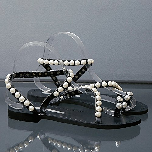Ring Pearls Women Black Luxury Flat Jamron Leather slippers Sandals Toe Genuine Studded q846UxOw
