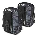 Tactical Waist Belt Bag | Universal Outdoor EDC Military Holster Waist Wallet Pouch Phone Case Gadget Pocket for iPhone X 8 7 6 6s Plus Samsung Galaxy S8 S7 S6 S5 S4 S3 Note 8 5 4 3 2 (Black-B-2 Pack)