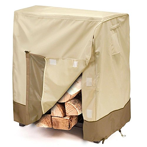 Outdoor Patio Firewood Rack Cover - Rain Water / Sun Armor Shield Lawn Veranda Porch Deck Fire Wood Rack Protector with Air Vent - Fits 48
