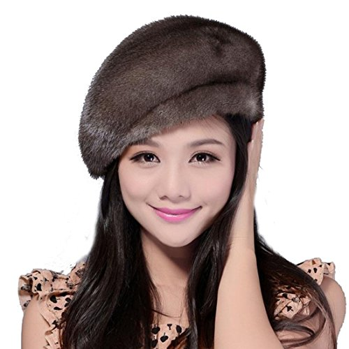 Women's Mink Full Fur Beret Hats (One Size, Gray)