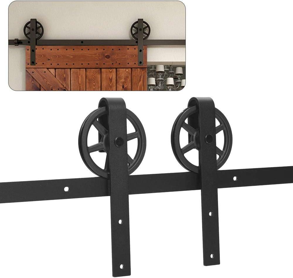 CCJH 6FT-183cm Herraje para Puerta Corredera Kit de Accesorios para Puertas Correderas Rueda Riel Juego para Una Puerta de Madera