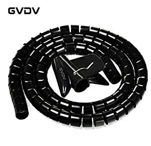 Amazon.com: #1 Cable Organizer Coiled Tube Sleeve Cable-GVDV Cable Management(Black)-5ft Cable