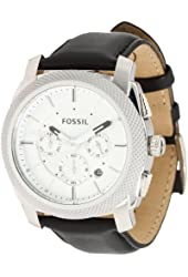 Fossil Machine Black Leather and Stainless Steel Mens Watch FS4599