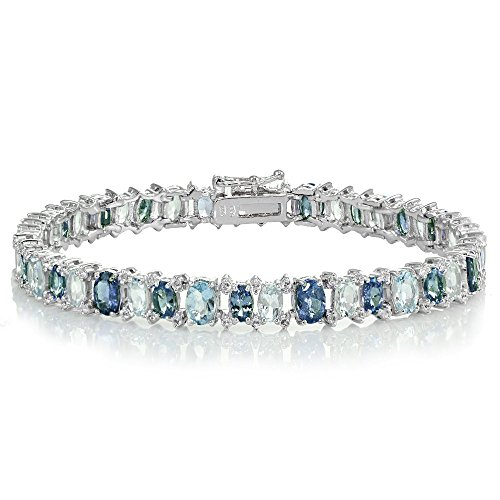 Sterling Silver Tanzanite, Blue and White Topaz Oval Tennis (Genuine Tanzanite Bracelet)