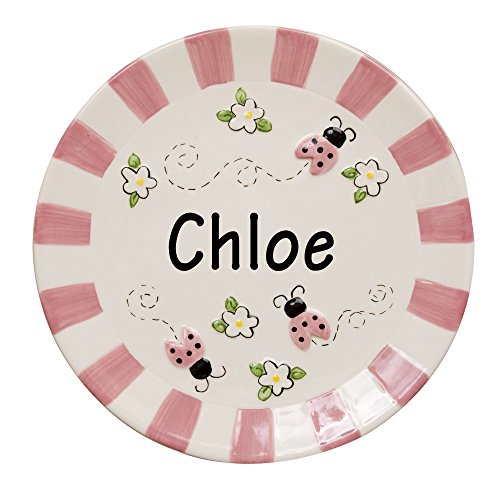Girl's Personalized Ladybug Plate - Girl Personalized Hand Painted Plate