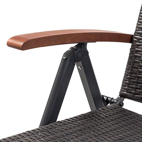 Tangkula Wicker Chaise Folding Back Adjustable Aluminum