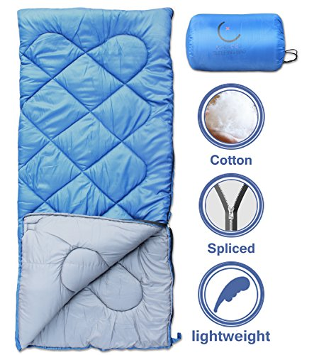 X-CHENG Sleeping Bags with Portable Compression Bag – 32℉ Available – ECO Friendly Materials – non-toxic – non-polluting – Comes with a complimentary gift. (blue)