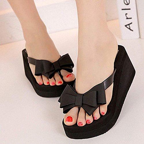 Vrouwen Strik String Hoge Hak Strand Sandalen Schoenen Zwart