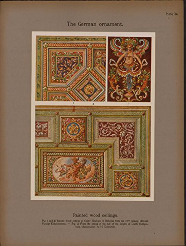 German Painted Wood Ceilings c.1915 lovely color framable Ornament print