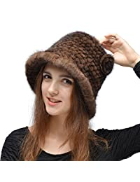 Real Mink Fur Hat - Women's Winter Knitted Bucket Hats With Flower Pin