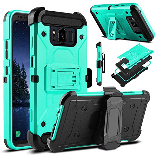 Galaxy S8 Active Case, Venoro Heavy Duty Armor Shockproof Rugged Protection Case Cover with Belt Swivel Clip and Kickstand for Samsung Galaxy S8 Active 5.8 2017 Release (Blue Green)