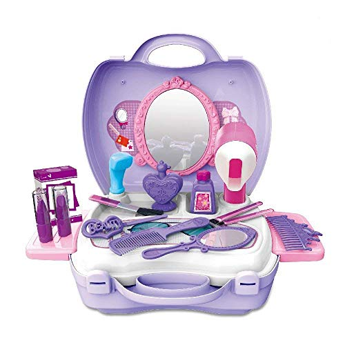 Geekper 21Pcs Toy Toddler with Nail Polish, Lip Gloss and Mirror Plastic Cosmetic Set Pretend Play Makeup Vanity Case