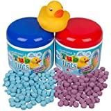 Play Visions Bath Drops 2 Pack + Rubber Duck - 200 Water Changing Bath Tablets For Over 40 Baths! (Red and Blue)