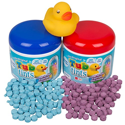 Play Visions Bath Drops 2 Pack + Rubber Duck - 200 Water Changing Bath Tablets for Over 40 Baths! ( Red and Blue) (Bathtub Dye)
