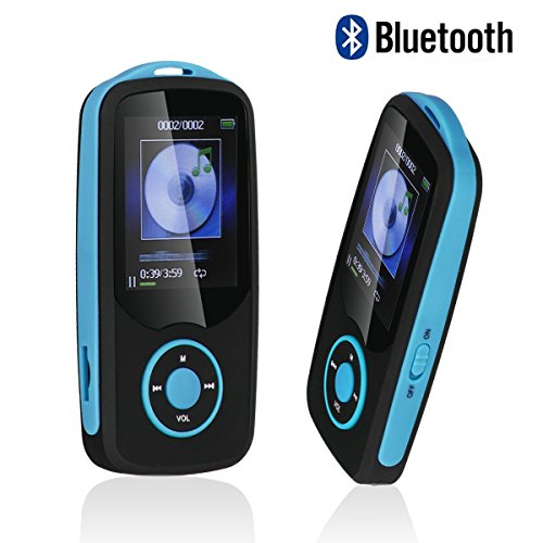 Mp3 Player with Bluetooth,Timmy Built in 16GB Portable Digital Music player (Blue)