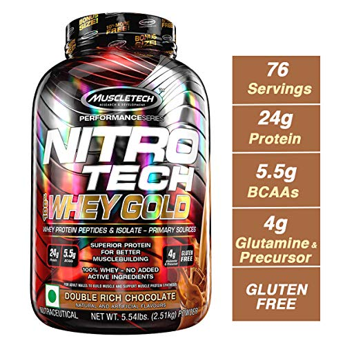 (MuscleTech NitroTech Whey Gold, 100% Whey Protein Powder, Whey Isolate and Whey Peptides, Double Rich Chocolate, 5.5 lb)