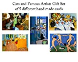 Famous Artists' Cats Greeting Card Gift Set, 5 Assorted Blank Note Cards with Matching Envelopes, Cat Gifts for Cat Lovers By Deborah Julian Art