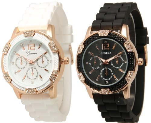 (Geneva Black and White Faux Rhinestones Chronograph Silicone Watch)