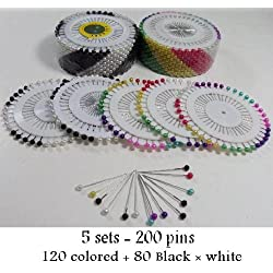 wholesale 5 sets 200 pcs Islamic Scarf Hijab Small pins Shayla Colors & black 361