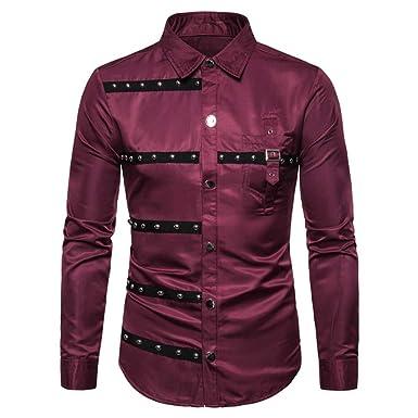 Hombre gótico Remache diseño Moda Delgado Camisa de Manga ...