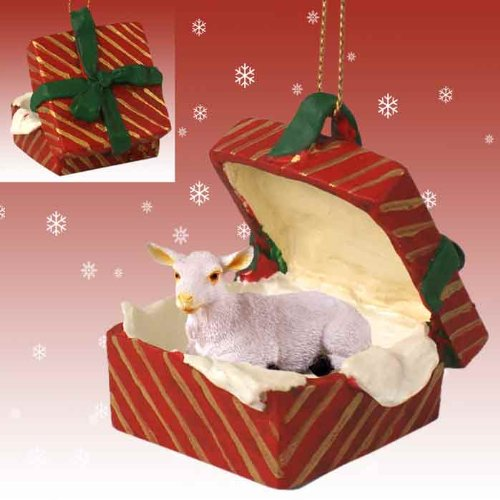 White Goat Christmas Ornament Red Gift ()