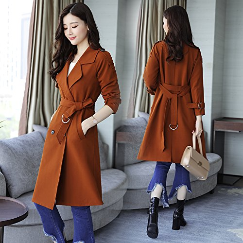 Women'S In Caramel Jackets Coats Loose amp; Jacket Coats Temperament nbsp;Female Wind Long SCOATWWH Mrs Htz4T