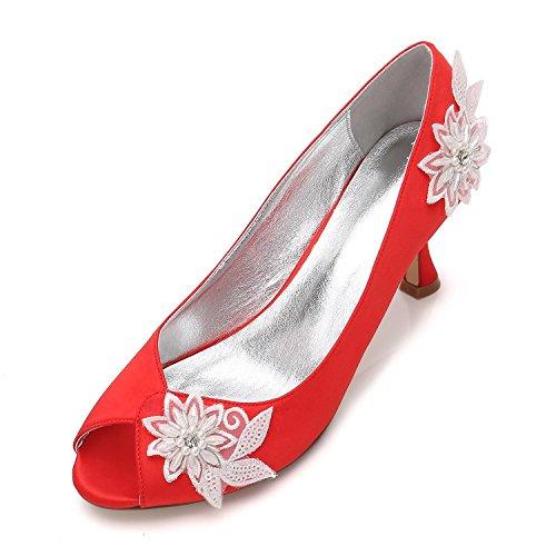 Elegant high shoes Señoras para Mujer de Tacón Alto Plataforma de Flores de Perlas Flor de La Boda Nupcial Prom Noche Zapatos Tamaño Red