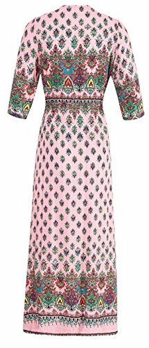 Button Printed Boho Loose V Slit Beach Womens Dresses Pink Cruiize Neck ExgPw5YHq