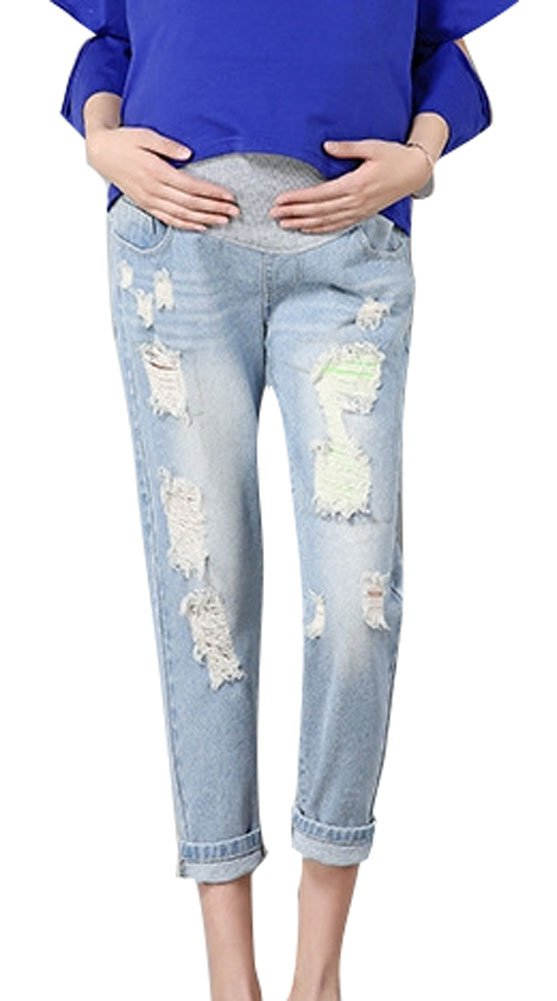 Plaid&Plain Women's Ripped Distressed Maternity Boyfriend Jeans with Belly Band LightBlue 8