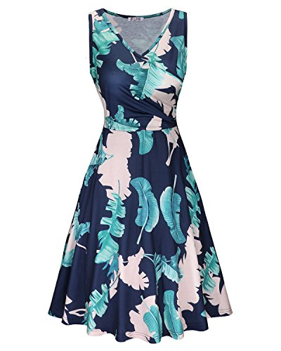 KILIG Women's Floral Print Dress,Casual Sleeveless V Neck A Line Elegant Dresses with Pockets(C003,XL)