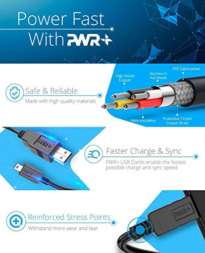 Pwr 10 Feet USB Power Cable Replacement for TV Stick, Intel Computer, Roku, Chromecast and Azulle Quantum Access Asus VivoStick Mini, Cloud Cam PC Data Sync Charging Cord