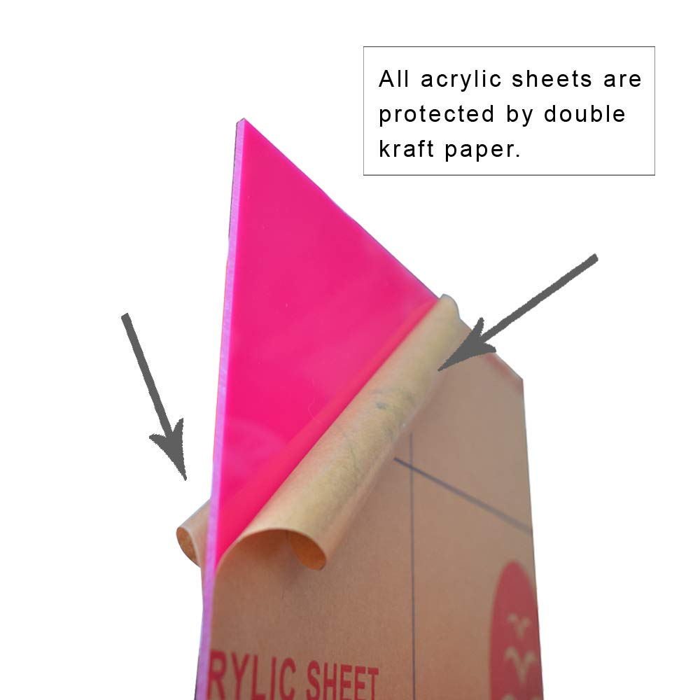 DIY Projects. Acrylic Sheet for Signs Opaque Pink, 1 Piece, 12 x 12 Inch, 0.118 Thick XLNT Cast Plexiglass Sheet