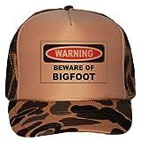 BEWARE OF THE BIGFOOT Adult Brown Camo Trucker Hat [Apparel]