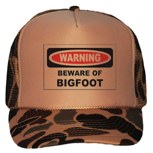 BEWARE OF THE BIGFOOT Adult Brown Camo Trucker Hat [Apparel]