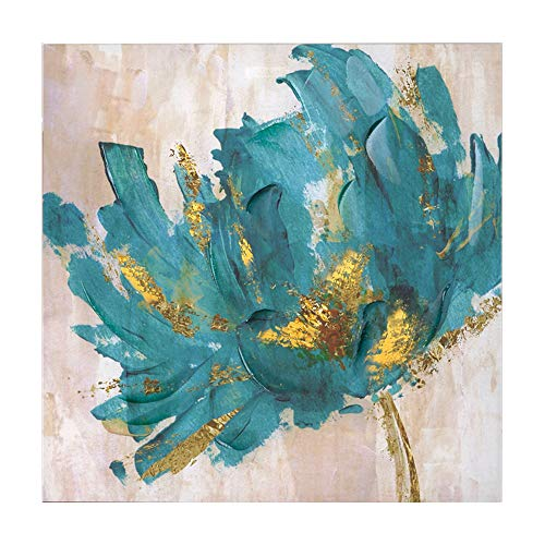 "Faicai Canvas Flower Paintings Turquoise and Gold Lotus Hand Painted 3D Textured Oil Paintings Modern Abstract Canvas Wall Art Pictures Home Decor for Living Room Office Hotel Wooden Framed 32""x32"""