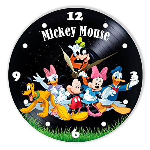 Mickey Mouse Painted Vinyl Clock - Mickey Mouse, Michel Mouse, Minnie Mouse, Donald Duck, Daisy Duck, Goofy, Pluto Colored Wall Clock - Unique Gifts for Fans Winnie The Pooh - The Best Home Decor -
